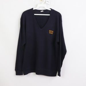 70s Champion Notre Dame Spell Out V-Neck Sweater S